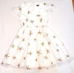 I Love Gorgeous Girls Dress 6/7 Gold Ivory Star